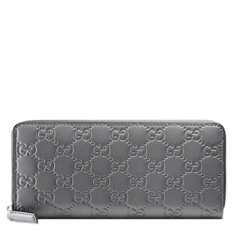 d8b91b965be0db Buy Gucci Grey Guccissima Leather Zip Around Wallet 91570 at best ...