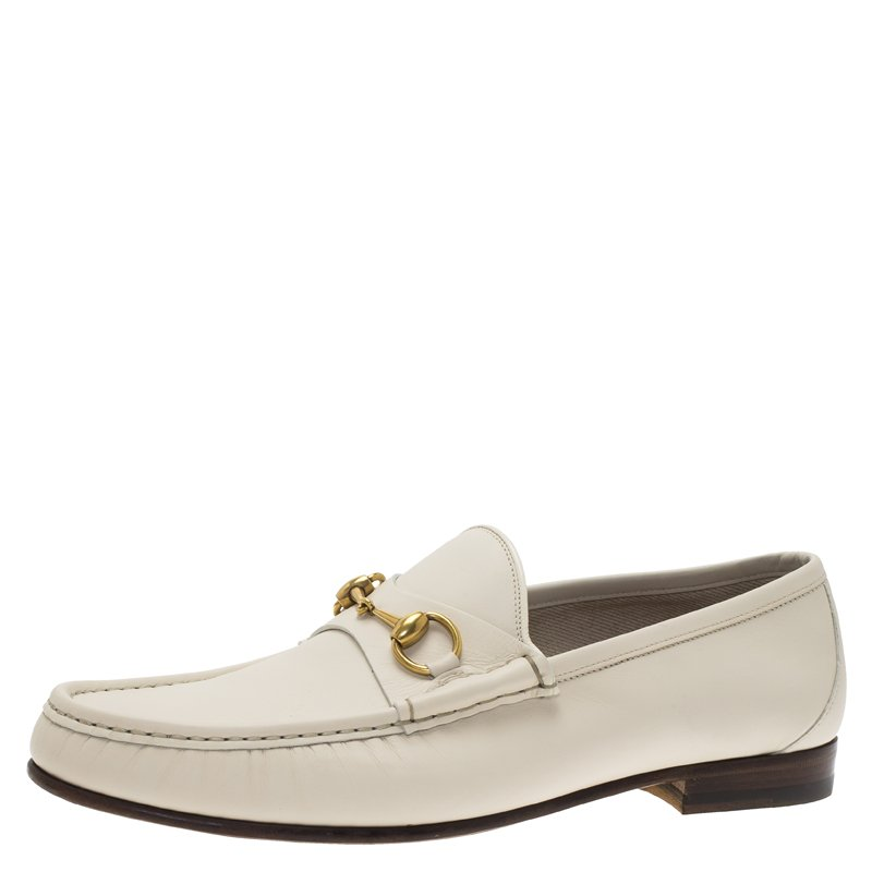 0fb4e8bb5b4 Buy Gucci White Leather 1953 Horsebit Loafers Size 44 79409 at best ...