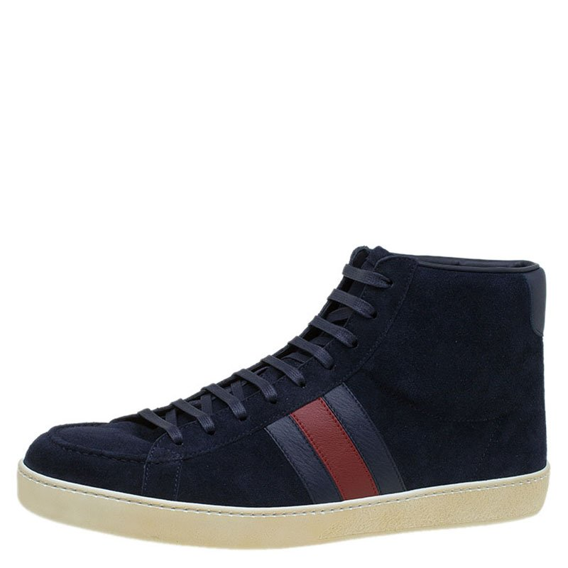 d539267f579 Buy Gucci Navy Blue Suede Web Detail High Top Sneakers Size 43.5 ...