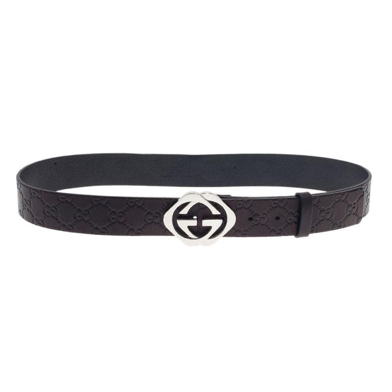 4e276fbdf06 Gucci Black Guccissima Leather Square Interlocking G Buckle Belt