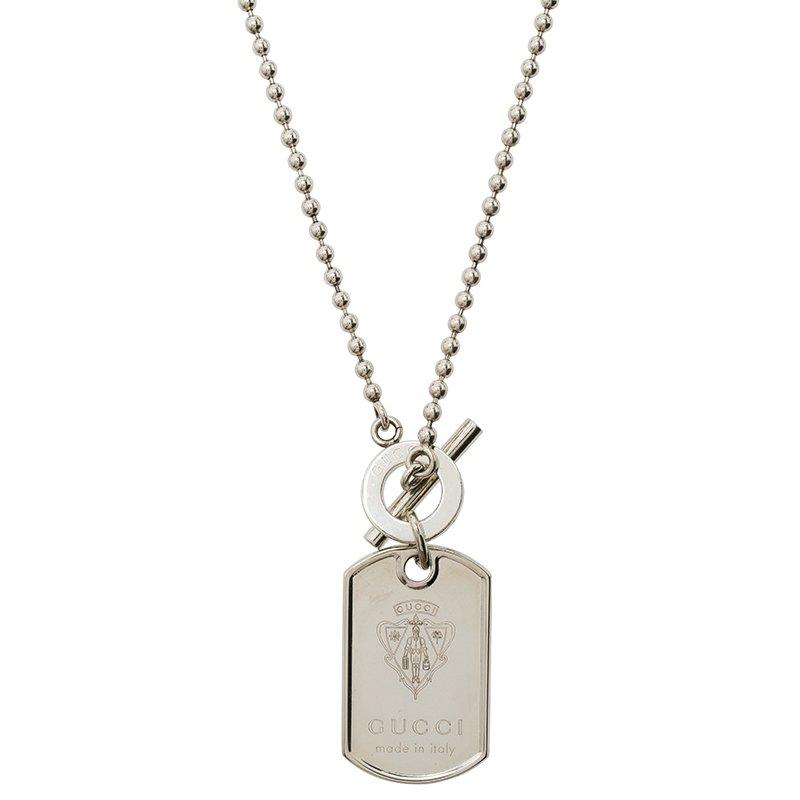 42bd37258 ... Gucci Crest Engraved Sterling Silver Dog Tag Necklace. nextprev.  prevnext