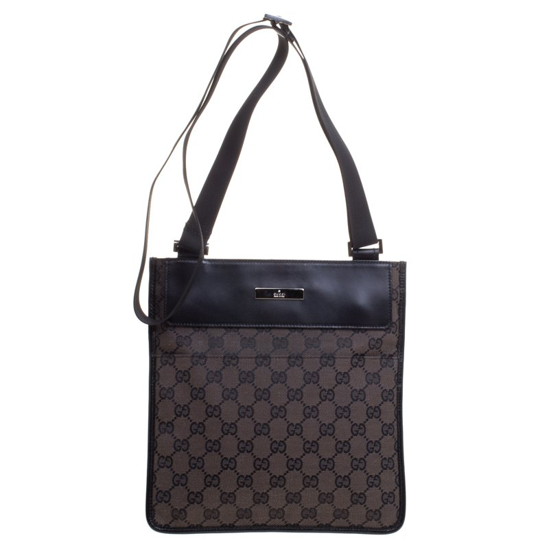 ade34098ed3 Buy Gucci Dark Brown GG Canvas Crossbody Bag 106404 at best price
