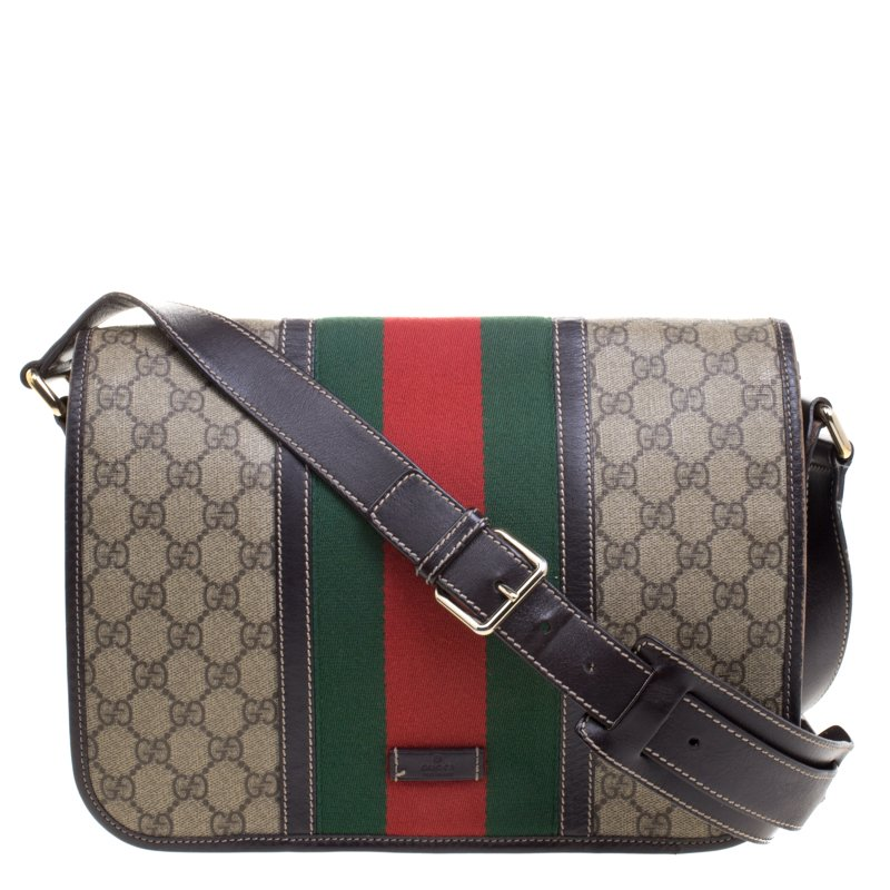 d5650dc9f40 ... Gucci Beige Brown GG Supreme Canvas Web Messenger Bag. nextprev.  prevnext