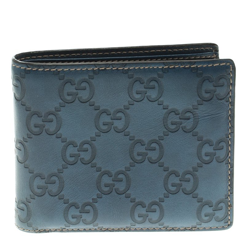 072215296a7c Buy Gucci Blue Guccissima Leather Bifold Wallet 106983 at best price ...