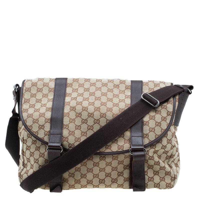 a26c38b6ae3 Buy Gucci Beige/Ebony GG Canvas Messenger Bag 56779 at best price | TLC