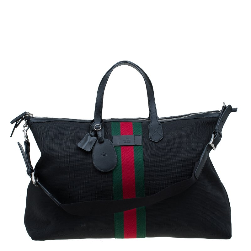 b577c2ea3433f9 Buy Gucci Black Canvas Techno Carry-On Duffle Bag 57599 at best ...