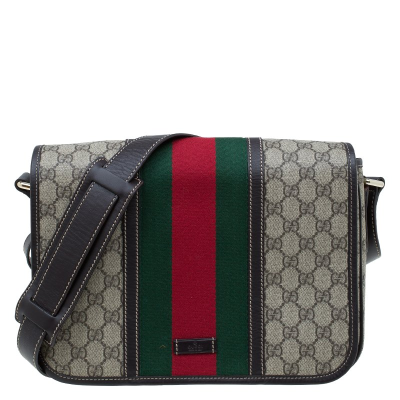 50317d01b5b ... Gucci Brown GG Supreme Coated Canvas and Leather Web Detail Messenger  Bag. nextprev. prevnext