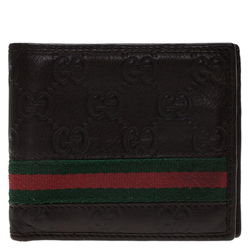 03f5f03e39b7f3 ... Gucci Dark Brown Guccissima Leather Web Bi Fold Wallet. nextprev.  prevnext