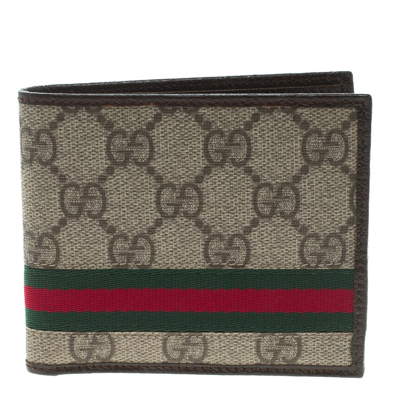 9e4ac8704ec991 Buy Gucci Beige GG Supreme Canvas Web Bi Fold Wallet 99102 at best ...