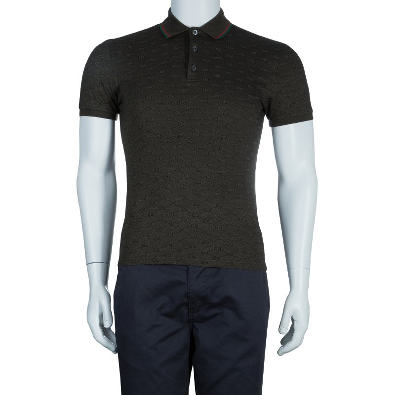 Gucci Men\u0027s Olive Green GG Polo Shirt S/M