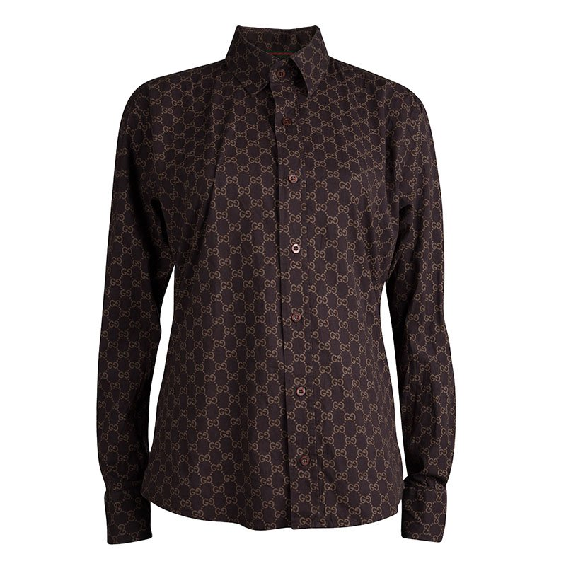 024484556 ... Gucci Brown Printed Cotton Long Sleeve Shirt L. nextprev. prevnext