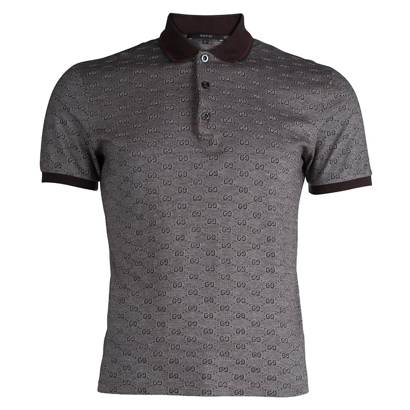 a970fbc97ef6 Buy Gucci Brown Guccissima Print Slim Fit Polo T-Shirt L 81572 at ...
