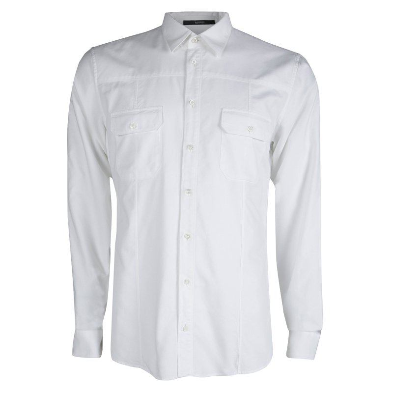 d471e2fe4 Buy Gucci White Cotton Long Sleeve Button Front Slim Fit Shirt L ...