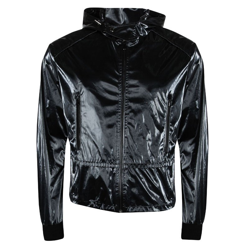 4956d6713dc Buy Gucci Patent Black Hooded Zip Front Jacket M 95518 at best price ...