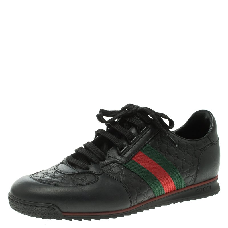 7b5d27df9 Buy Gucci Black Guccissima Leather Web Detail Lace Up Sneakers Size ...