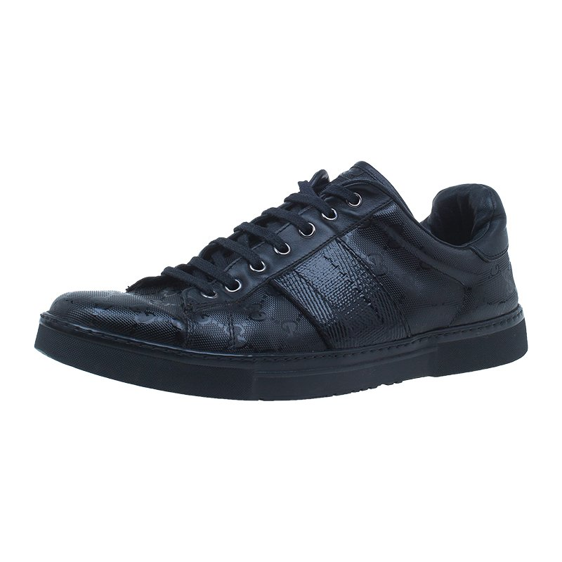 0bf3b39e1ba4c8 ... Gucci Black Imprime Canvas and Leather Sneakers Size 42.5. nextprev.  prevnext