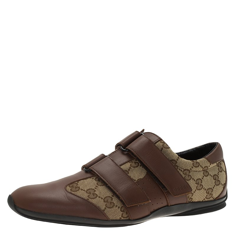 200768999 Buy Gucci Brown Guccissima Canvas and Leather Velcro Sneakers Size ...