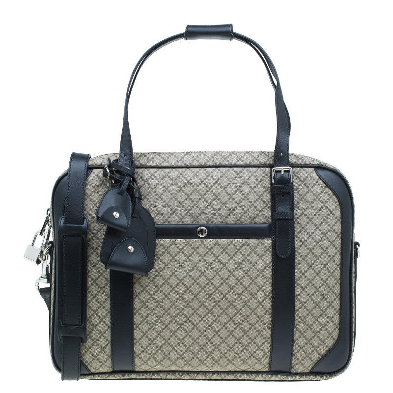 Gucci Beige/Black Diamante Canvas and Leather Briefcase