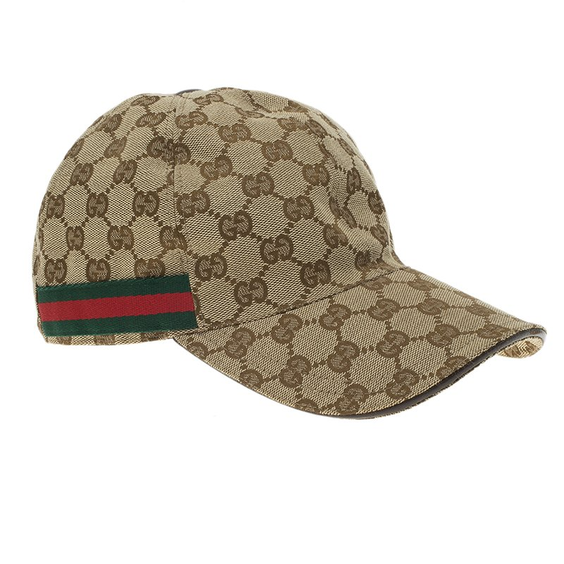 a090e84e Gucci Beige Guccissima Canvas and Leather Web Detail Baseball Cap Size S