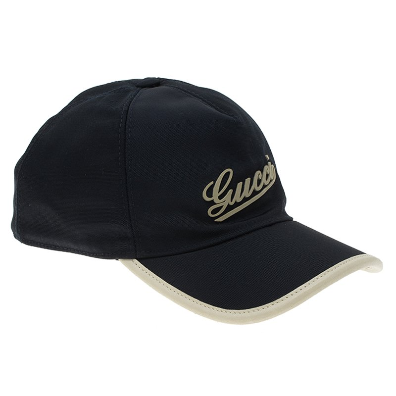 1358802519f Buy Gucci Navy Blue Nylon and Leather Logo Baseball Cap Size M 58936 ...