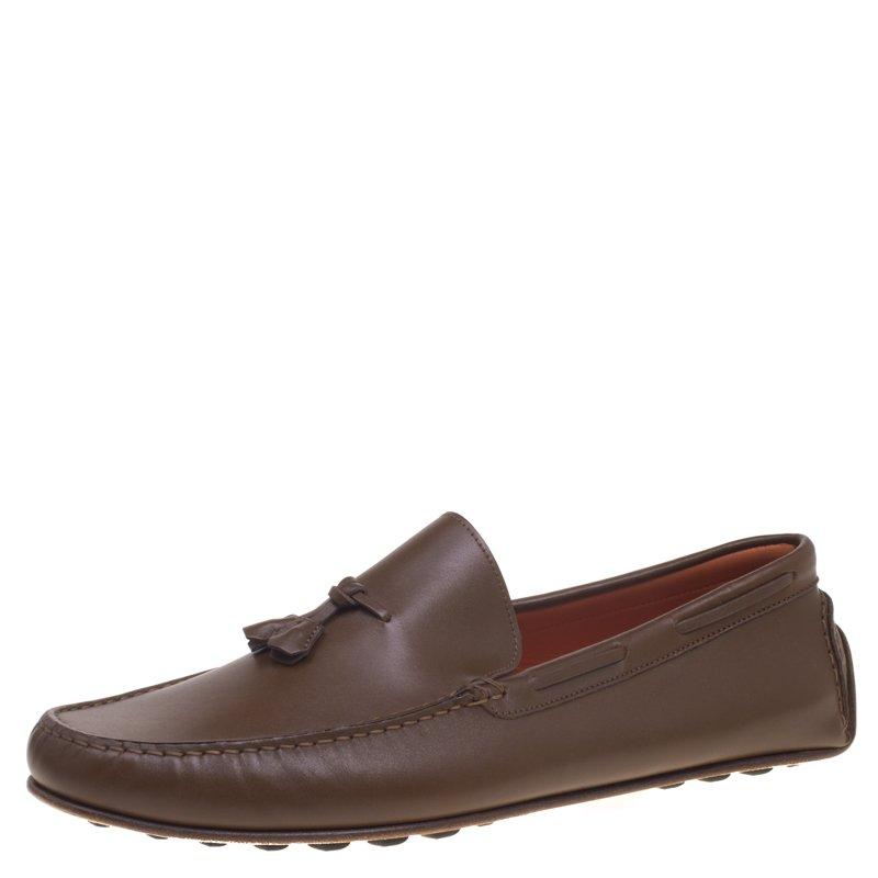 7fa124ffc6a Buy Hermes Brown Leather Leonard Tassel Moccasins Size 44 92969 at ...