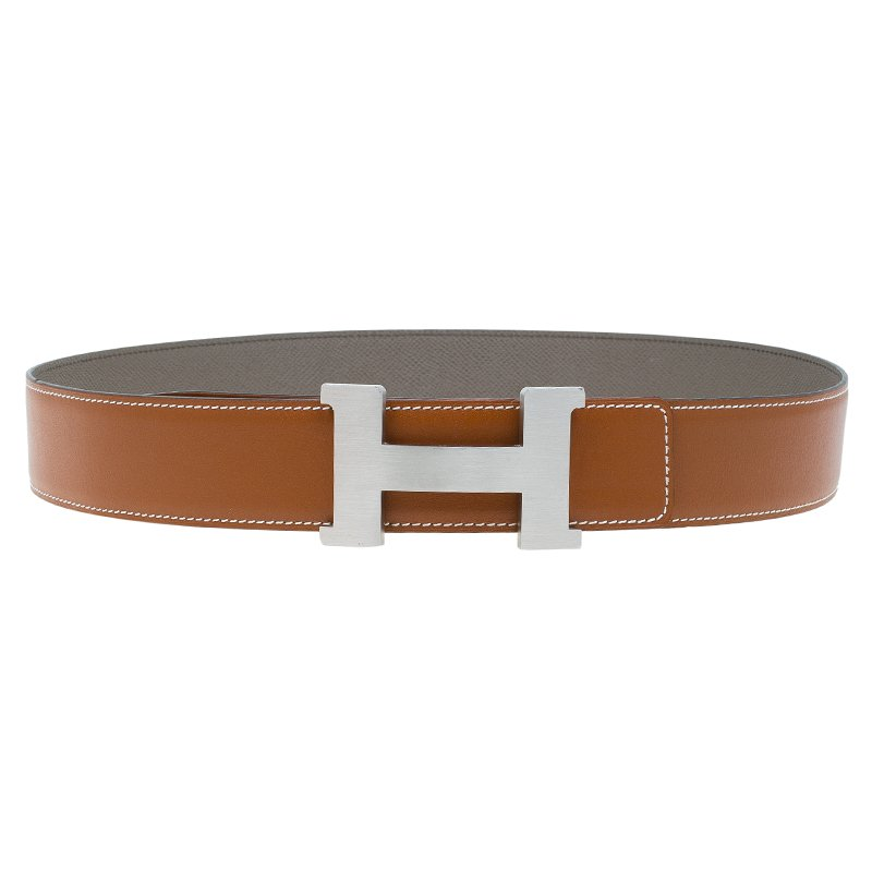 4570f4fd1 Buy Hermes Brown Leather H Buckle Belt Size 90 CM 59775 at best ...