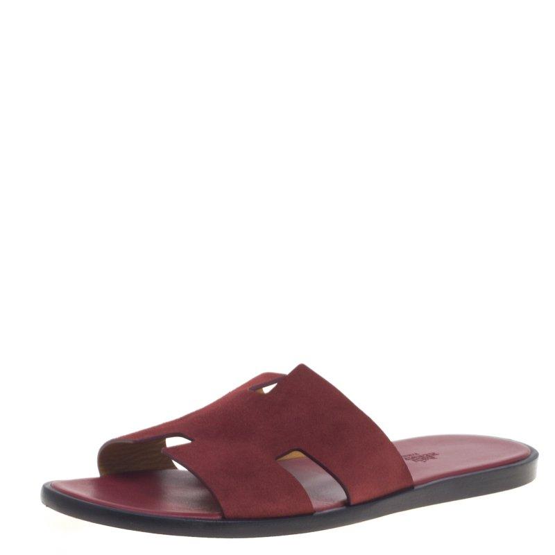 78355bee091b Buy Hermes Maroon Suede Izmir Sandals Size 43.5 93014 at best price ...