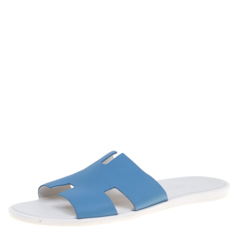 1e826cda79ab Buy Hermes Blue Leather Izmir Sandals Size 43.5 93064 at best price ...