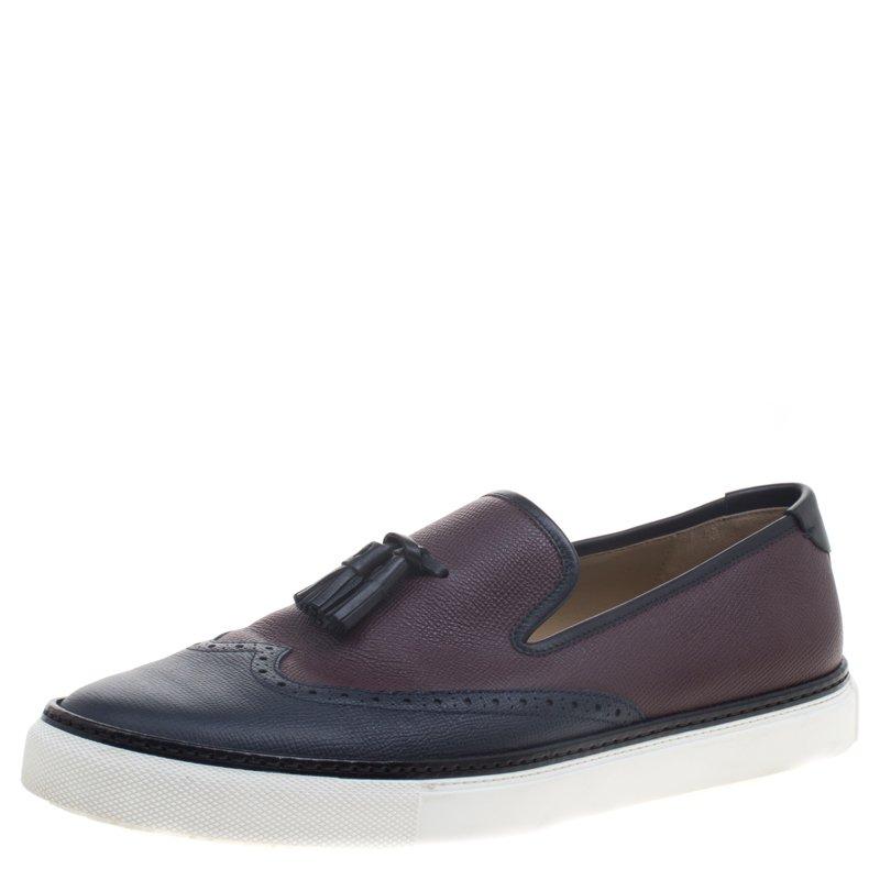 حذاء رياضي هيرمس ماست جلد بروغي ثنائي اللون بشراشيب مقاس 43.5