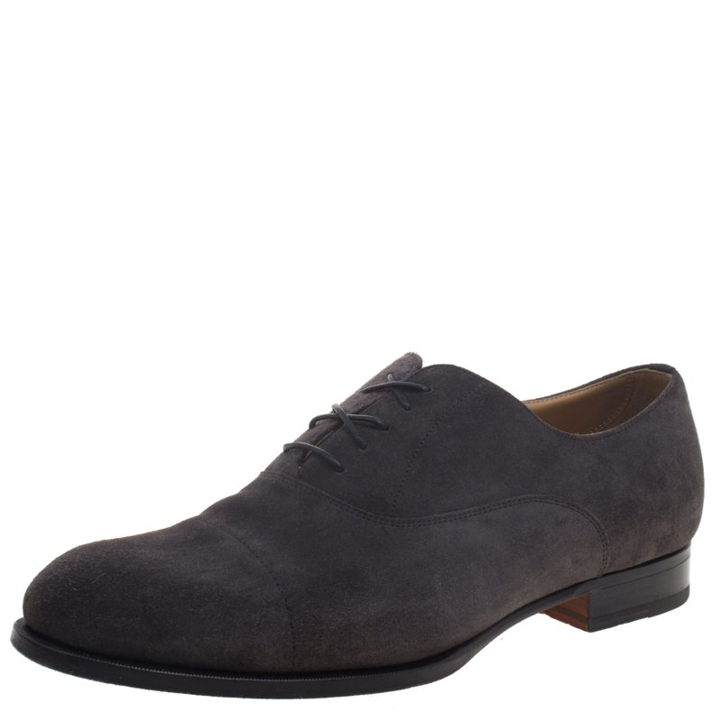 Hermes Grey Suede Napoli Lace Up Oxfords Size 43.5