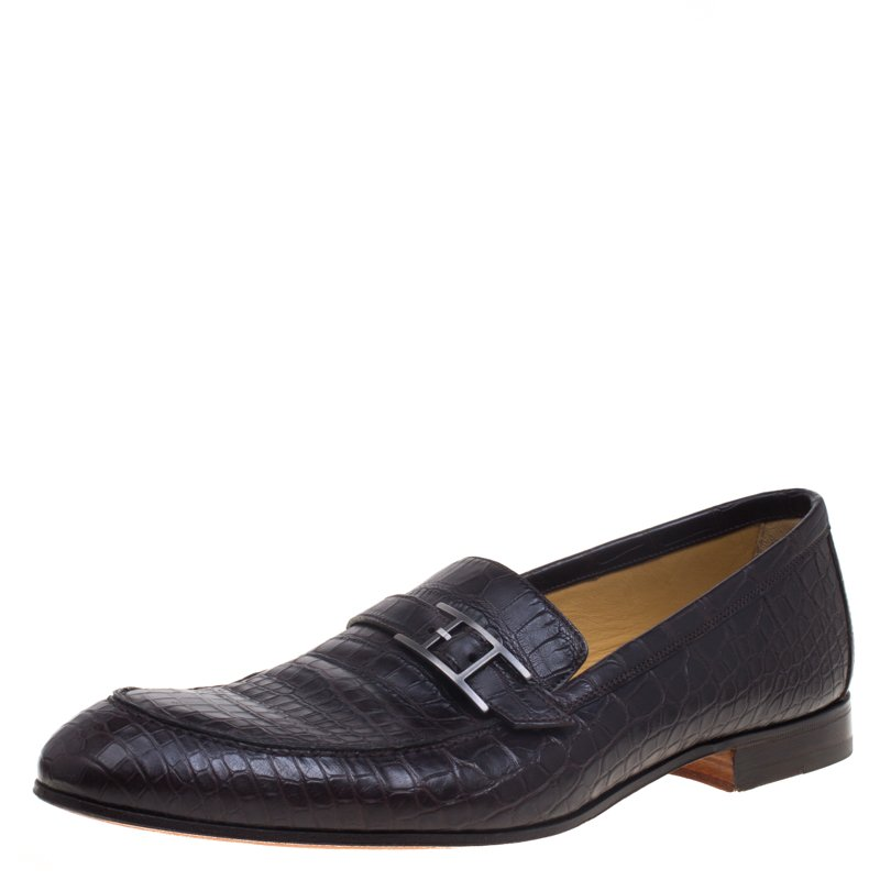 b8ec7c214cf Buy Hermes Dark Brown Crocodile Leather Loafers Size 44 93268 at ...