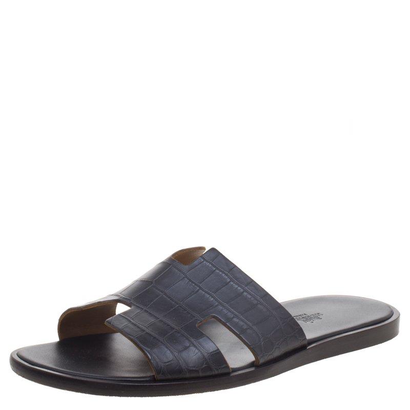 dc259ed378f0 Buy Hermes Black Alligator Izmir Sandals Size 43 93289 at best price ...