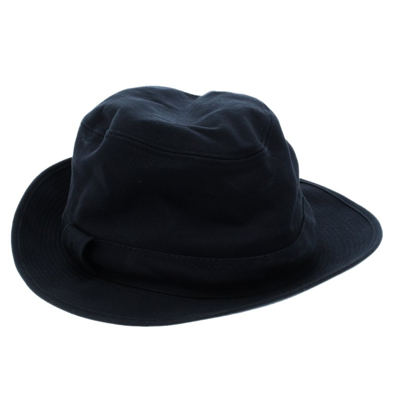 Buy Hermes Navy Blue Cotton H Embroidered Funky Fedora Hat ( Size 58 ... 40351682868