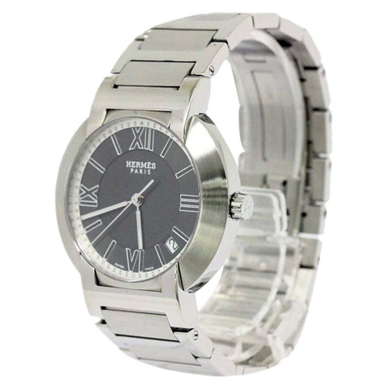 Hermes Grey Stainless Steel Nomade Men's Wristwatch 36MM