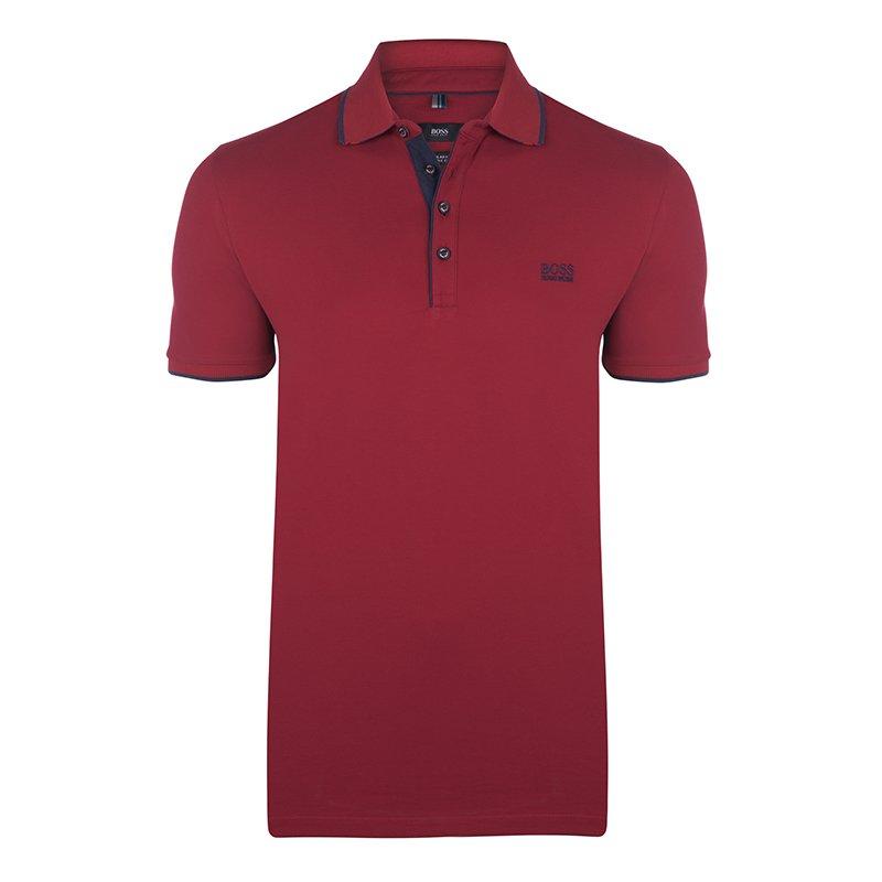 9b6700d7 Buy Boss by Hugo Boss Red Cotton Logo Short Sleeve Polo Shirt M ...