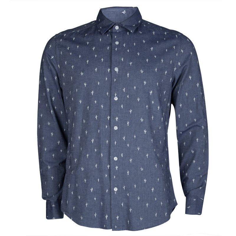 b743b8ce4d Kenzo Men's Indigo Chambray Cactus Print Long Sleeve Buttondown Slim Fit  Shirt L