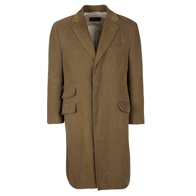Loro Piana Brown Cotton Storm System Coat L