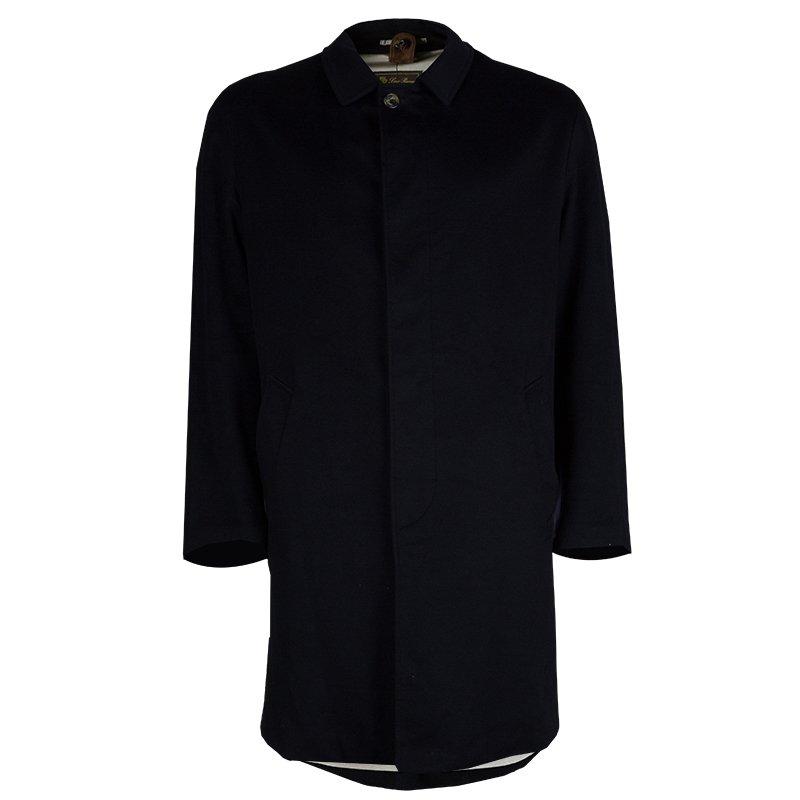 Loro Piana Black Cashmere Storm System Coat L