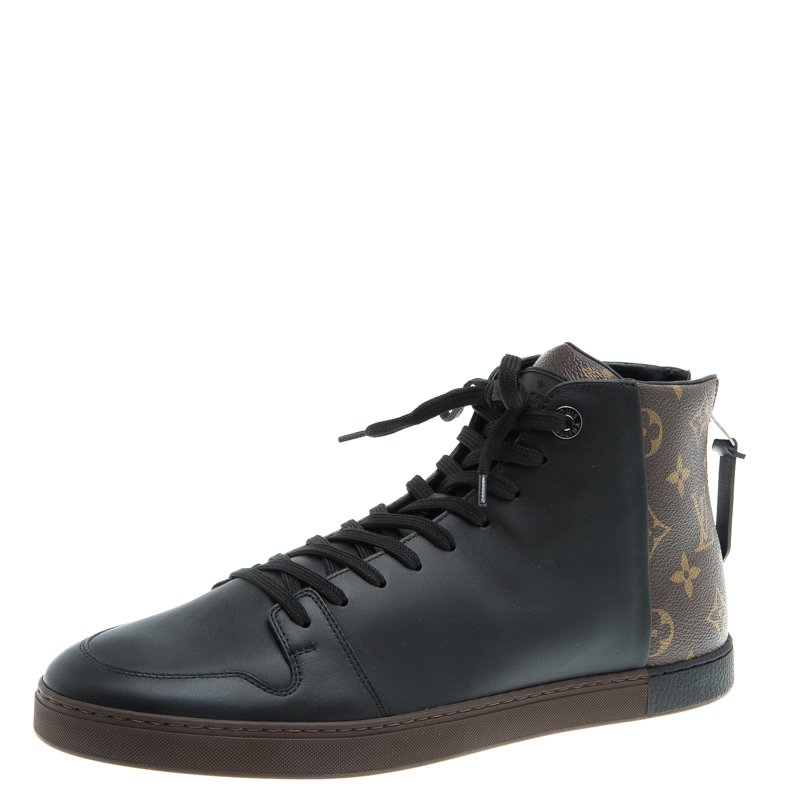 884bfe09cd6 Louis Vuitton Black Leather and Monogram Canvas Line Up High Top Sneakers  Size 42