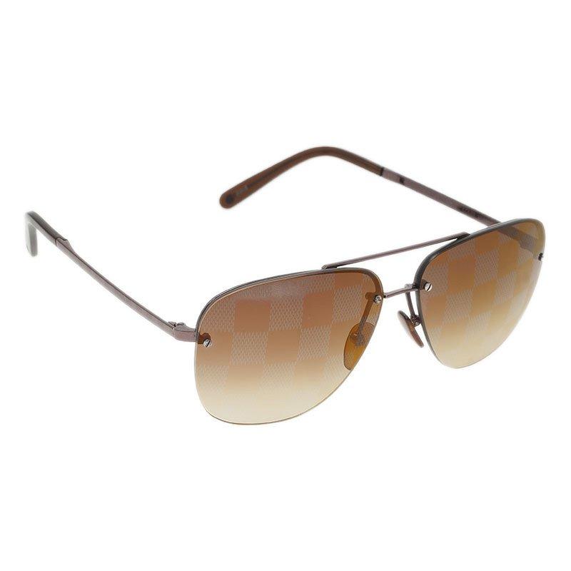 a288d562fd1 Louis Vuitton Men s Sunglasses Source · Buy Louis Vuitton Brown Socoa  Damier Aviators Sunglasses 43570 at