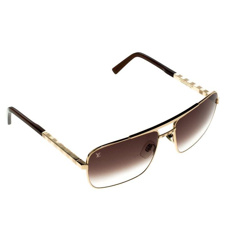 d3a4df9d5f Buy Louis Vuitton Brown Gold Z0259U Attitude Sunglasses 92523 at ...