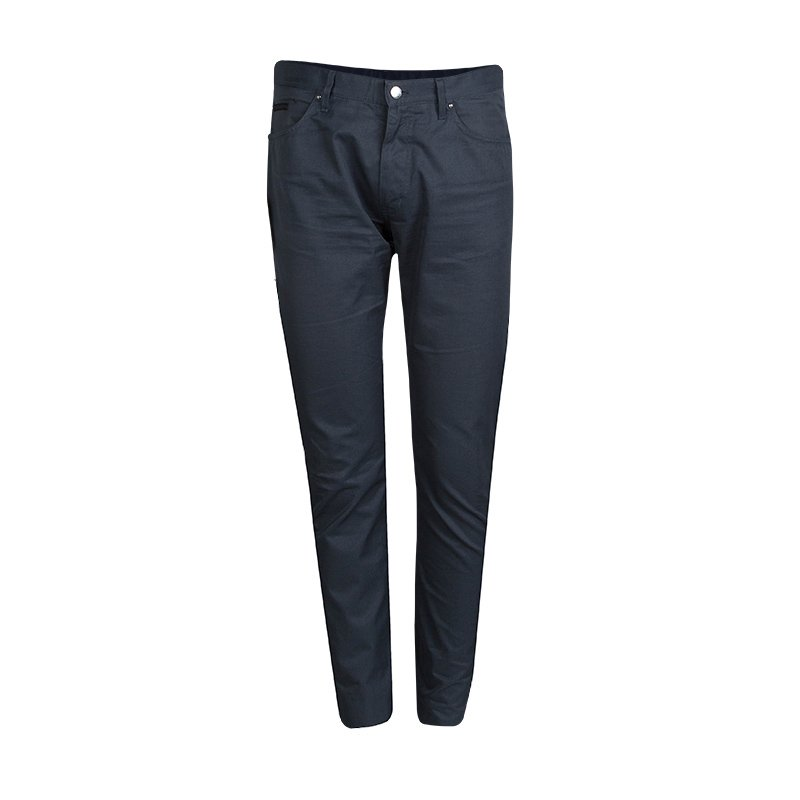 Louis Vuitton Grey Cotton Straight Fit Trousers L