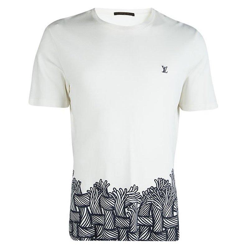 312d00a767 Louis Vuitton Off White Cotton Printed Logo Detail T-Shirt XL