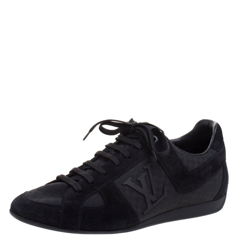 a6972ba22ef9 Buy Louis Vuitton Black Petit Damier Canvas and Suede Vibes Sneakers ...