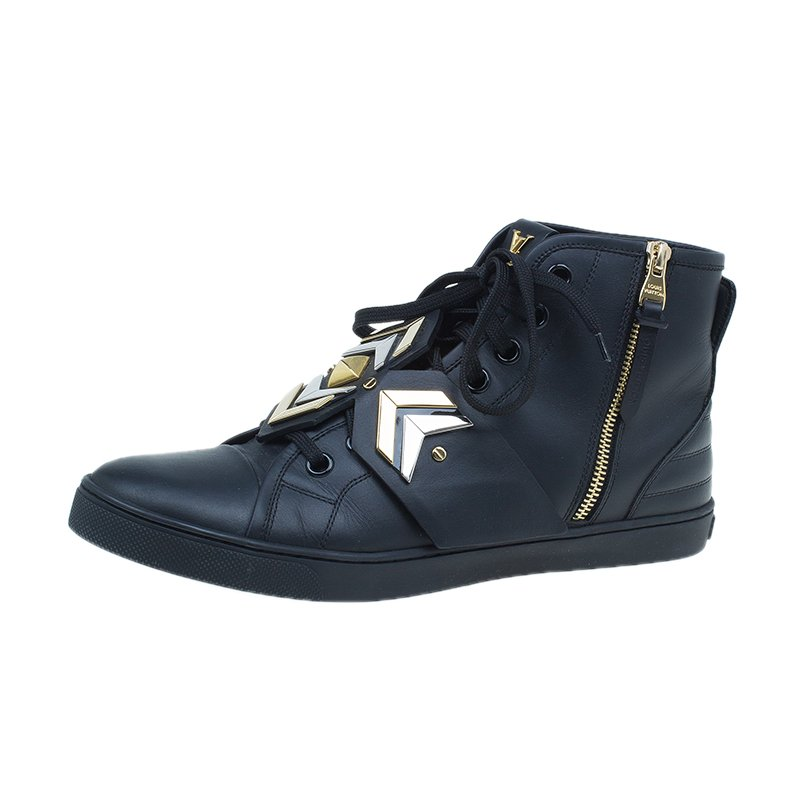 f0d043d025de ... Louis Vuitton Black Leather Karakoram Pattern Punchy Sneaker Boots Size  41. nextprev. prevnext