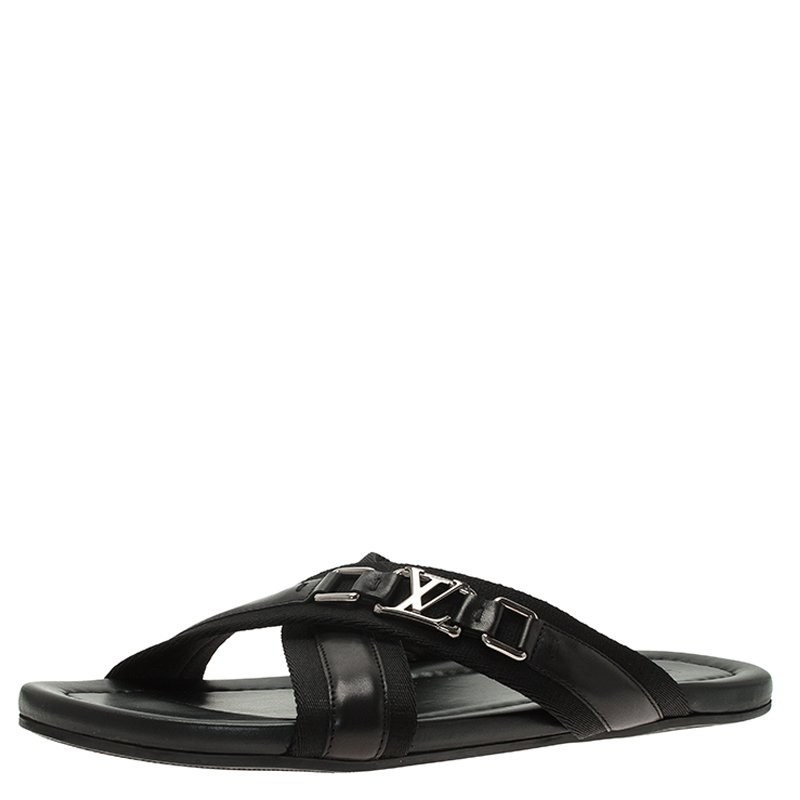 bd4f2495228b ... Louis Vuitton Black Leather Criss-Cross Sandals Size 43. nextprev.  prevnext