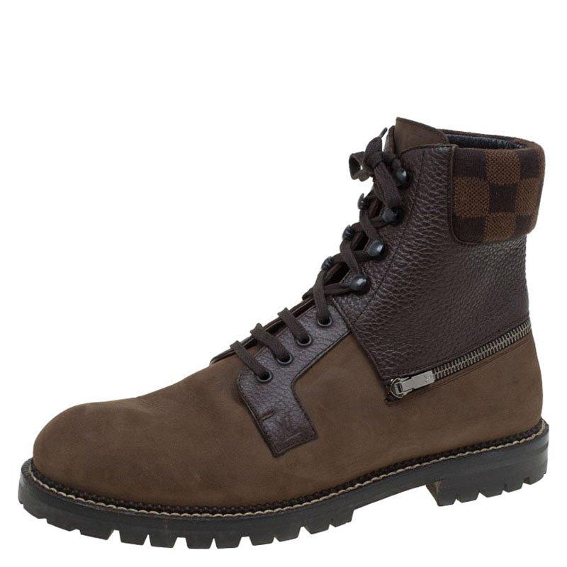 a3958a00e5be Buy Louis Vuitton Brown Nubuck and Damier Ebene Tibet Combat Boots ...
