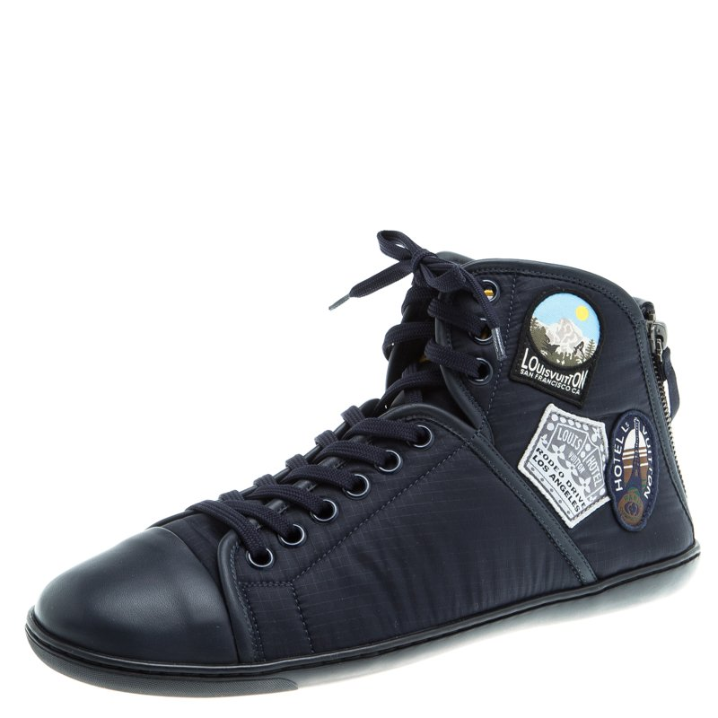9a9afccd0e0 Louis Vuitton Dark Blue Fabric and Leather V Gaston High Top Sneakers Size  42
