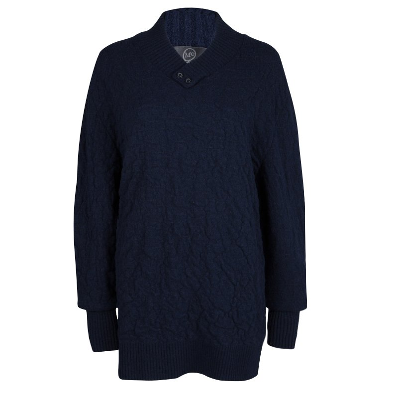 McQ By Alexander McQueen Navy Blue Textured Wool V-Neck Sweater XL