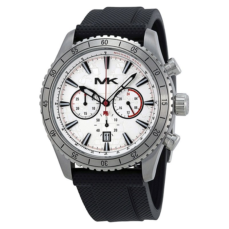 Michael Kors Silver (Map) Stainless Steel Richardson MK8353 Men's Wristwatch 45MM